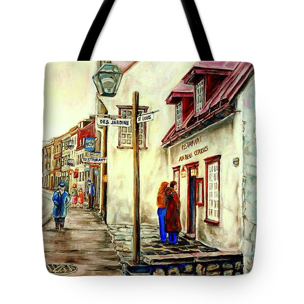 Paintings Of Quebec Landmarks Aux Anciens Canadiens Restaurant Rainy Morning October City Scene  Tote Bag by Carole Spandau