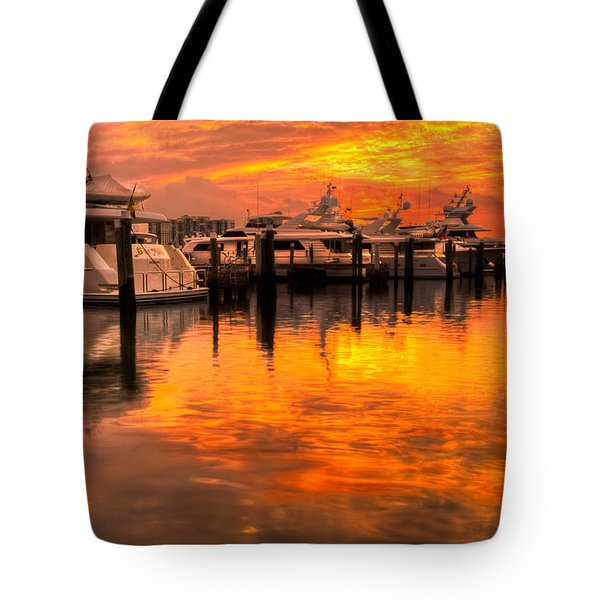 Palm Beach Harbor Glow Tote Bag by Debra and Dave Vanderlaan