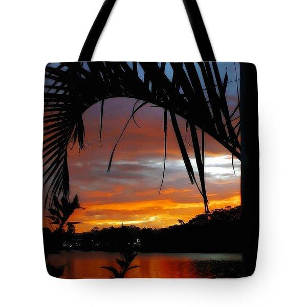 Palm Framed Sunset Tote Bag by Kaye Menner
