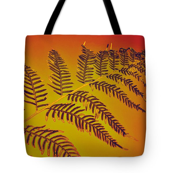Palm Frond in the Summer Heat Tote Bag by Kaye Menner