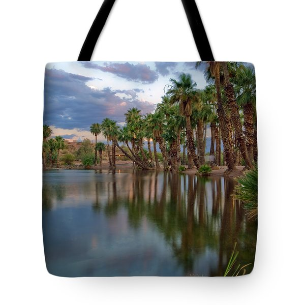 Palms Trees over Papago Lake Tote Bag by Dave Dilli