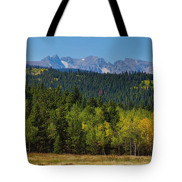 Panorama Scenic Autumn View Of The Colorado Indian Peaks Tote Bag by James BO  Insogna