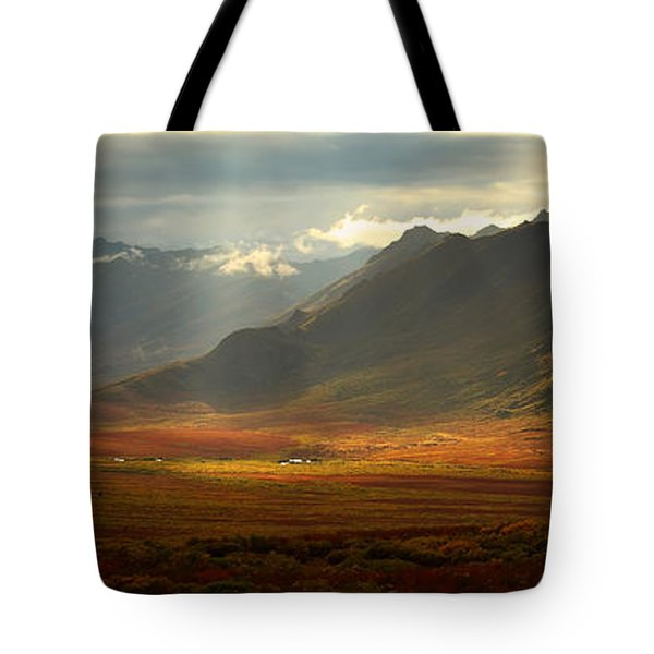 Panoramic Image Of The Cloudy Range Tote Bag by Robert Postma