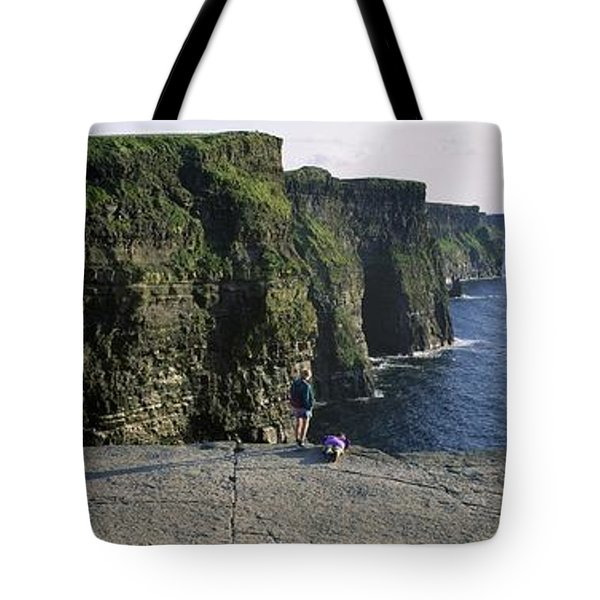 Panoramic View Of Cliffs, Cliffs Of Tote Bag by The Irish Image Collection
