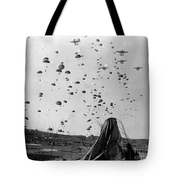 Paratroopers Jump From From C-119s Tote Bag by Stocktrek Images