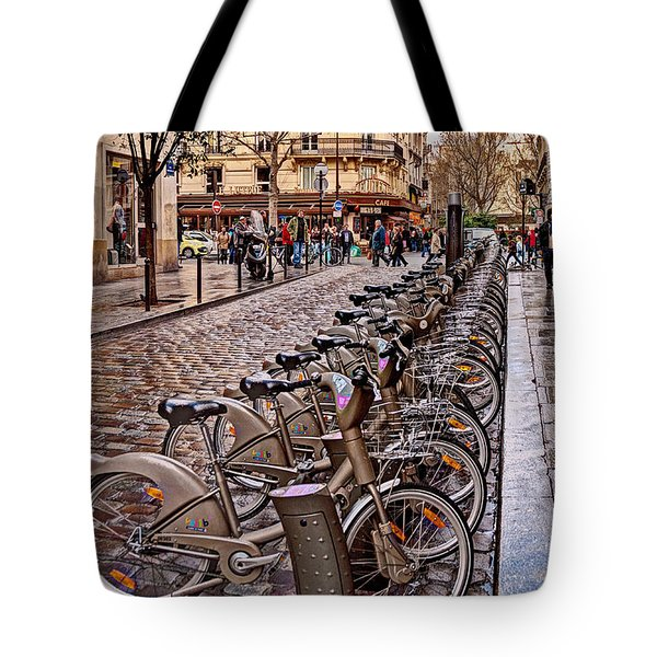 Paris Wheels For Rent Tote Bag by Bob and Nancy Kendrick