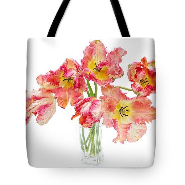Parrot Tulips In A Glass Vase Tote Bag by Ann Garrett