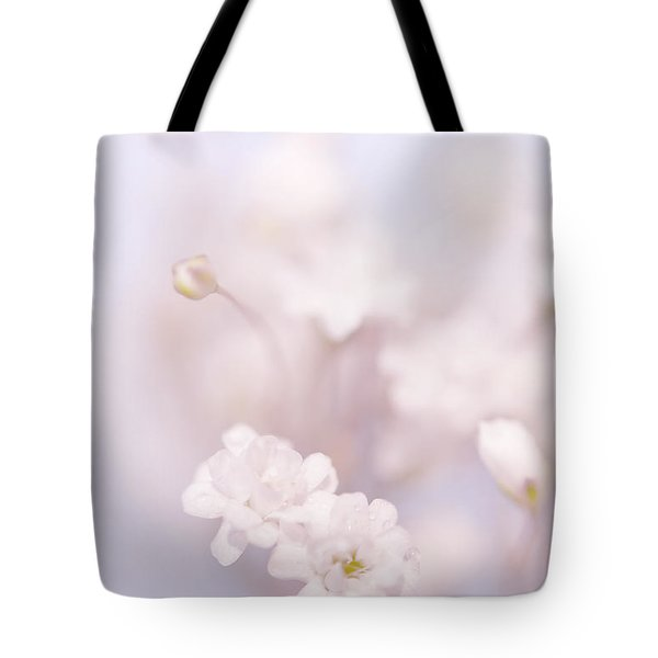 Passion For Flowers. White Pearls Of Gypsophila Tote Bag by Jenny Rainbow