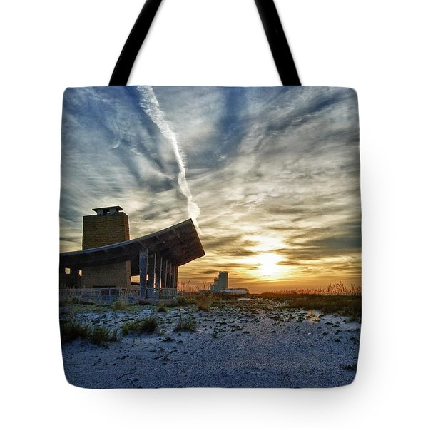 Pavillion and the beach Tote Bag by Michael Thomas