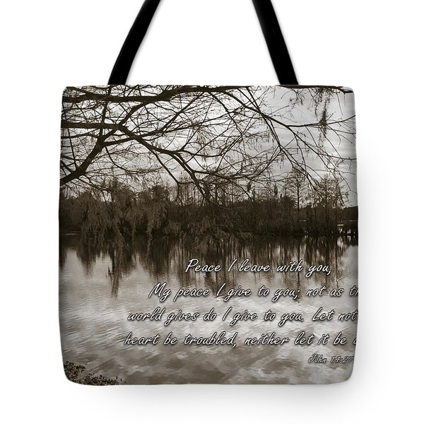 Peace I Leave With You Tote Bag by Carolyn Marshall