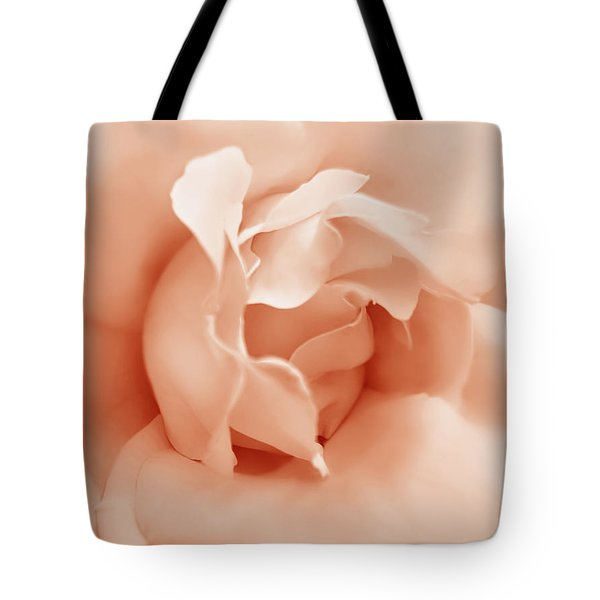 Peach Pastel Rose Flower Tote Bag by Jennie Marie Schell