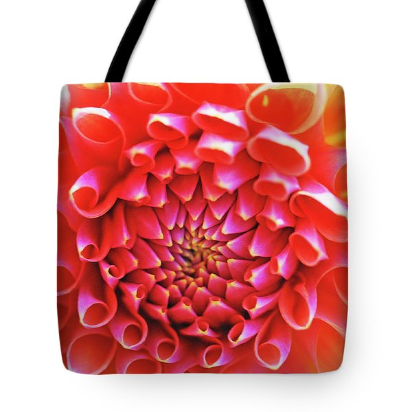 Peachy Dahlia Tote Bag by Kathy Yates