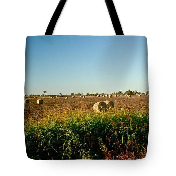 Peanut Bales In Field Tote Bag by Douglas Barnett