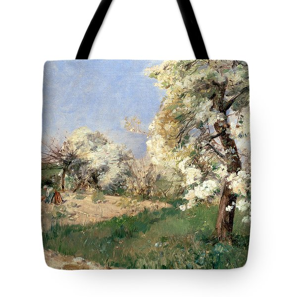 Pear Blossoms Tote Bag by Childe Hassam