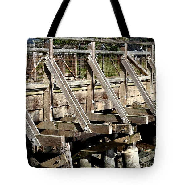 Pedestrian Bridge At Point Isabel In Richmond California . 7d15082 Tote Bag by Wingsdomain Art and Photography