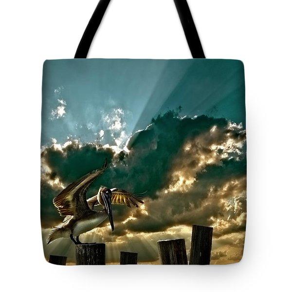 pelican sky Tote Bag by Meirion Matthias