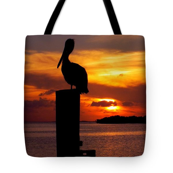 PELICAN SUNDOWN Tote Bag by KAREN WILES