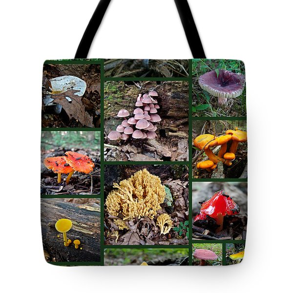 Pennsylvania Mushrooms Collage 2 Tote Bag by Mother Nature