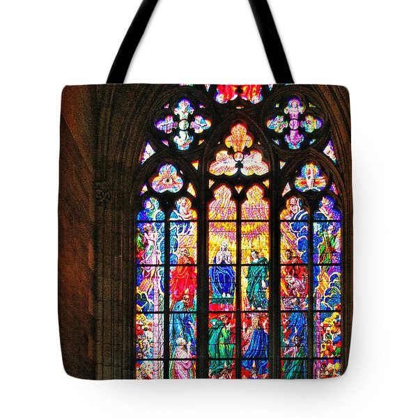 Pentecost window - St. Vitus Cathedral Prague Tote Bag by Christine Till