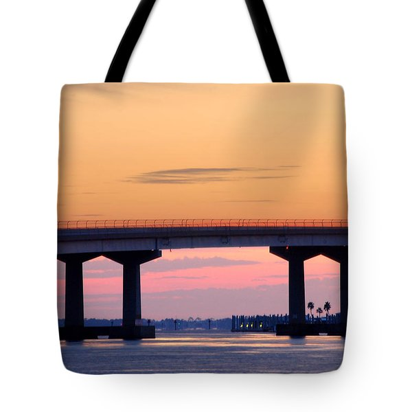 Perdido Bridge Sunrise Closeup Tote Bag by Michael Thomas