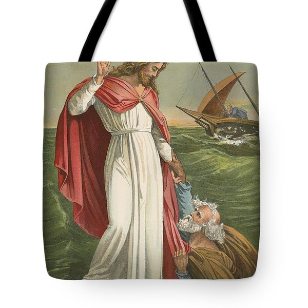 Peter Walking On The Sea Tote Bag by English School