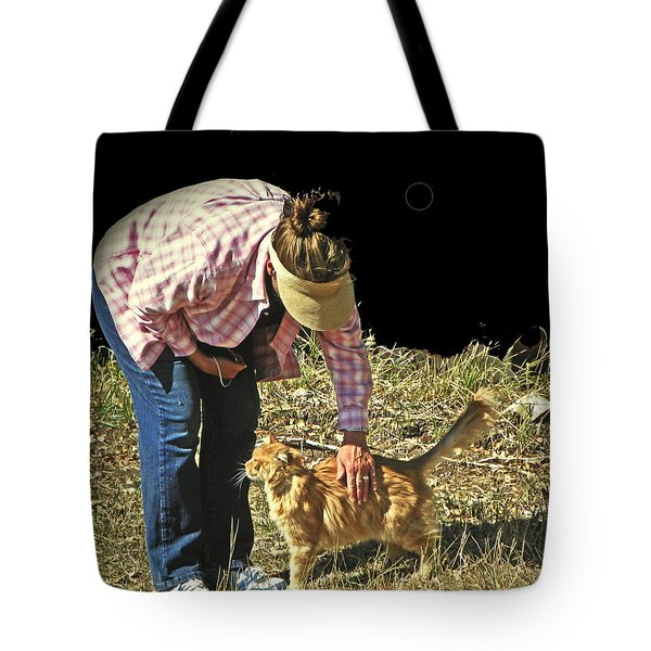 Petting The Ranch Cat Tote Bag by Lenore Senior and Dawn Senior-Trask