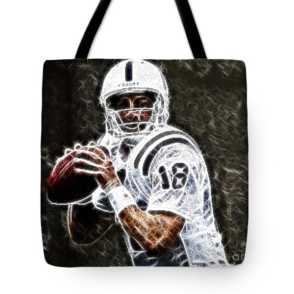 Peyton Manning 18 Tote Bag by Paul Ward