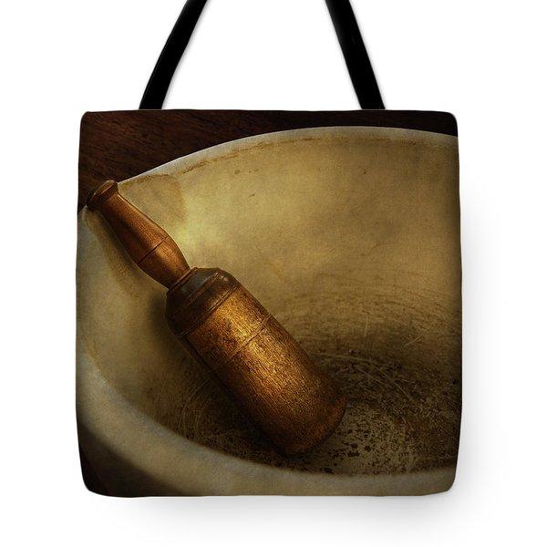 Pharmacy - Pestle - Mortar Grinder  Tote Bag by Mike Savad