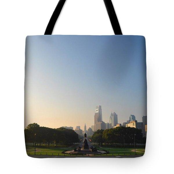 Philadelphia Across Eakins Oval Tote Bag by Bill Cannon