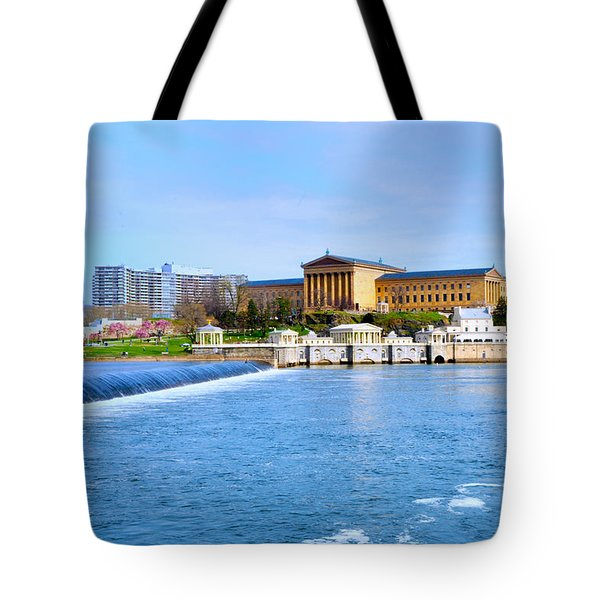 Philadelphia Museum Of Art And The Philadelphia Waterworks Tote Bag by Bill Cannon