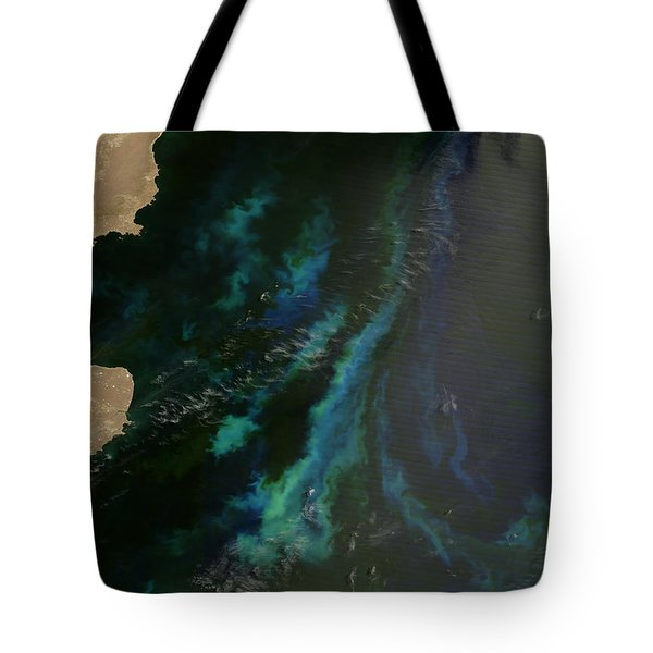 Phytoplankton Off Argentinas Coast Tote Bag by Nasa