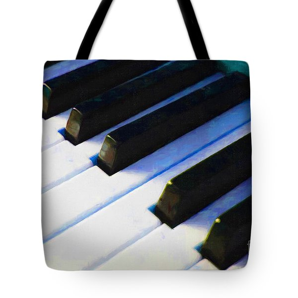 Piano Keys . V2 . Blue Tote Bag by Wingsdomain Art and Photography