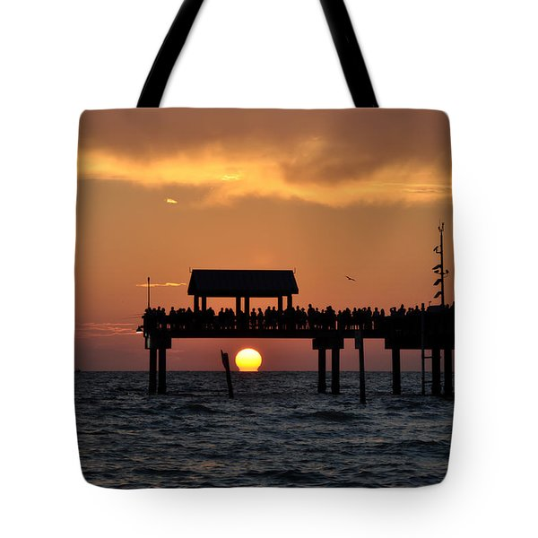 Pier 60 Clearwater Beach - Watching The Sunset Tote Bag by Bill Cannon