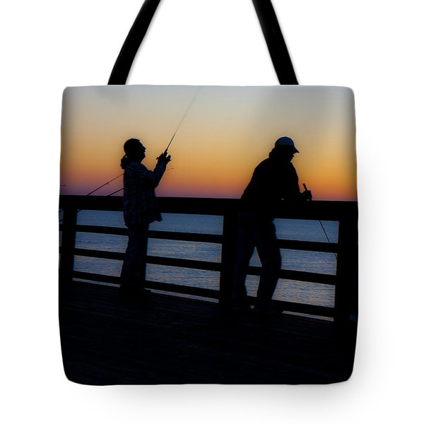 Pier Fishing At Dawn II Tote Bag by Betsy Knapp