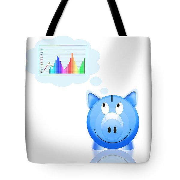piggy bank with graph Tote Bag by Setsiri Silapasuwanchai
