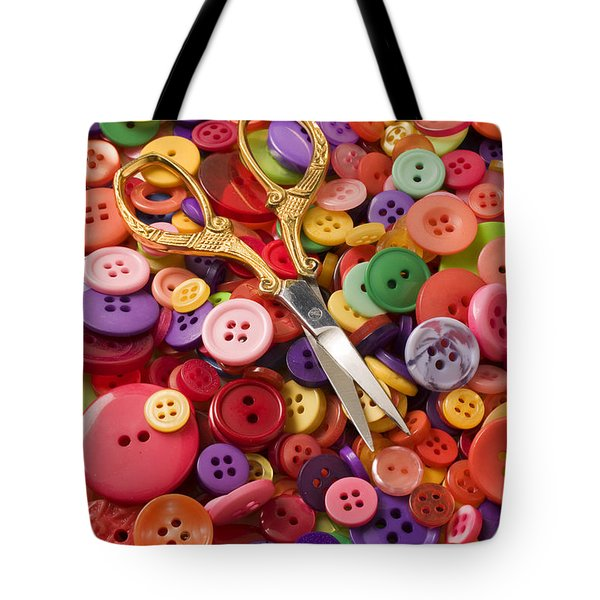 Pile of buttons with scissors  Tote Bag by Garry Gay