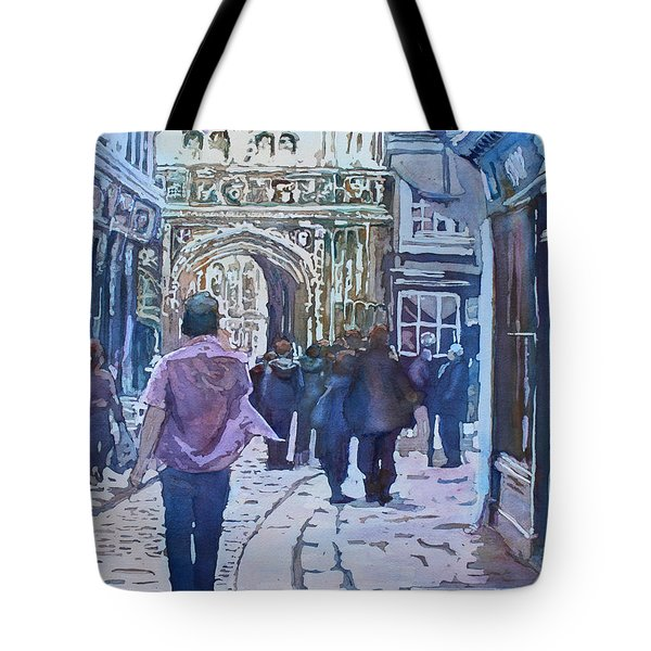 Pilgrims At The Gate Tote Bag by Jenny Armitage