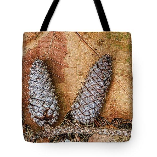 Pine Cones And Leaves Tote Bag by Deborah Benoit