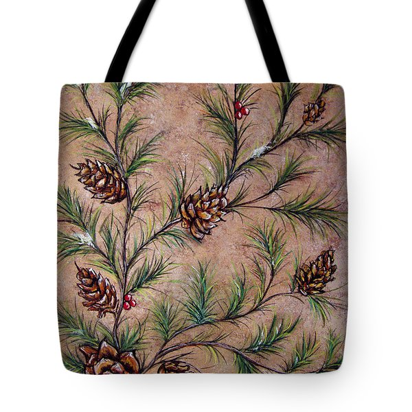 Pine Cones And Spruce Branches Tote Bag by Nancy Mueller