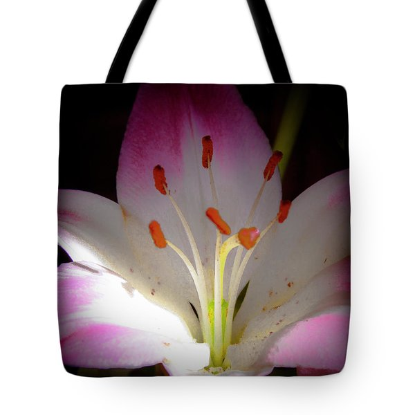 Pink and White Lily Tote Bag by David Patterson
