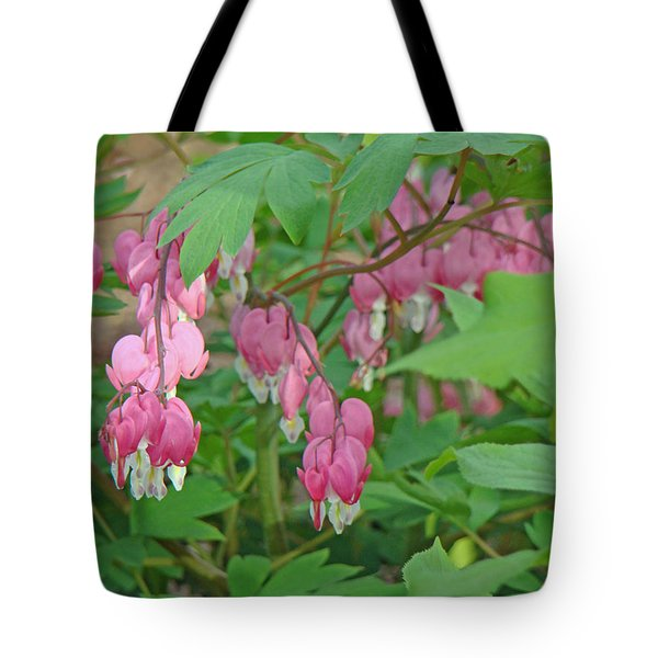 Pink Bleeding Heart Flowers - Dicentra Spectabilis Tote Bag by Mother Nature
