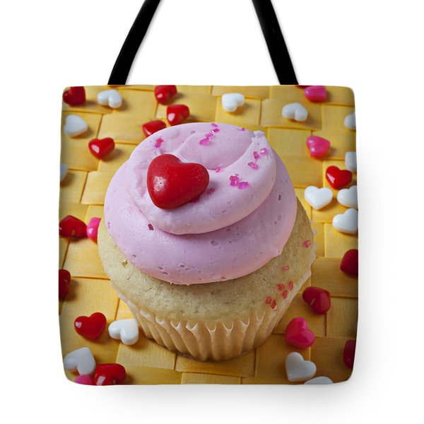 Pink cupcake with candy hearts Tote Bag by Garry Gay