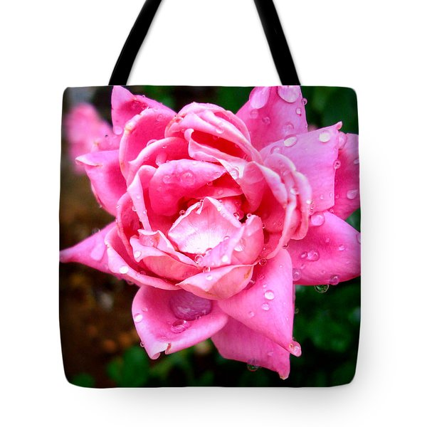Pink Double Knockout Rose Tote Bag by David G Paul