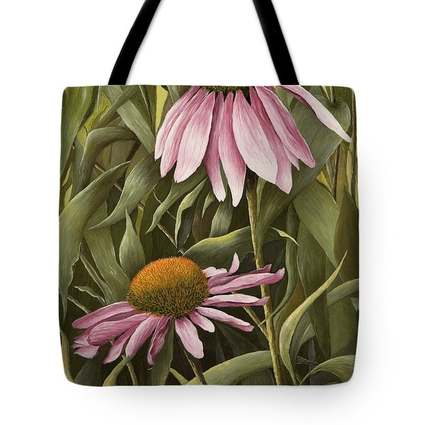Pink Echinaceas Tote Bag by Mary Ann King