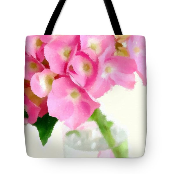 Pink Hydrangea In A Glass Vase Tote Bag by Anne Kitzman