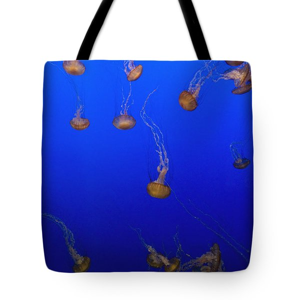 Pink Jellyfish Floating In A Tank At Tote Bag by Axiom Photographic
