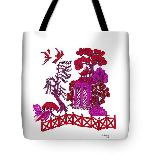 Pink Pagoda Tote Bag by Gail Daley