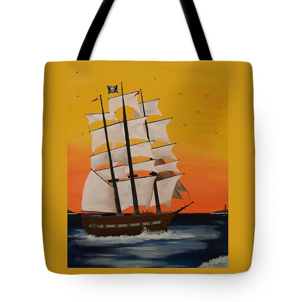 Pirate Ship At Dawn Tote Bag by Paul F Labarbera