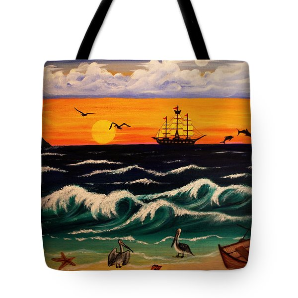 Pirate's Cove Tote Bag by Adele Moscaritolo