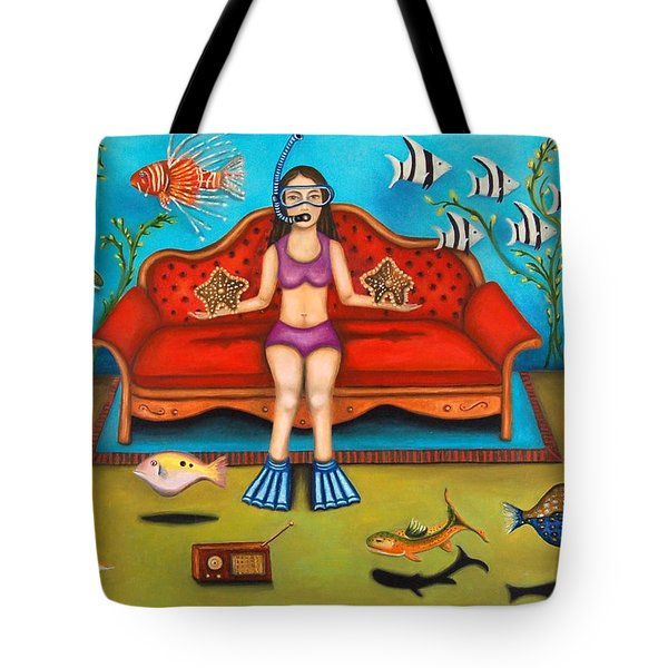 Pisces 3 Tote Bag by Leah Saulnier The Painting Maniac